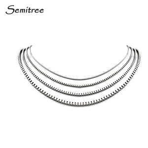 Semitree Stainless Steel Box Chain Necklace Jewelry