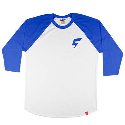 Mini Bolt Raglan Tee (White/Blue)