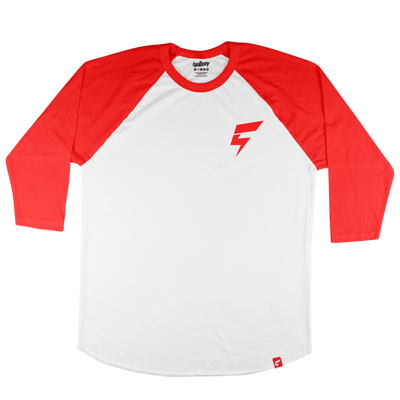 Mini Bolt Raglan Tee (White/Red)