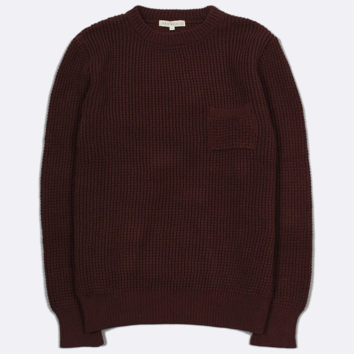 Far Afield Knitwear Far Afield Joe Pocket Crew Neck Jumper Bitter Chocolate