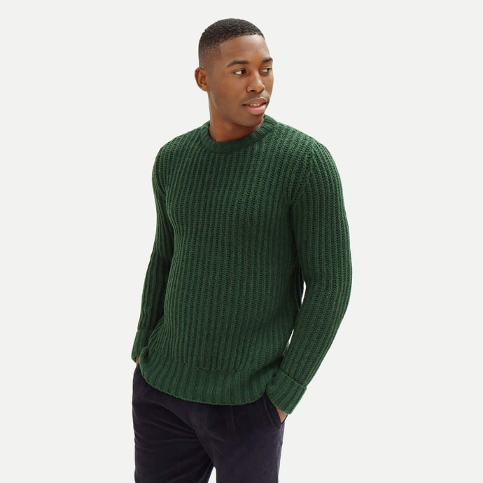 Far Afield Knitwear Far Afield Tanner Ribbed Knit Jumper Green