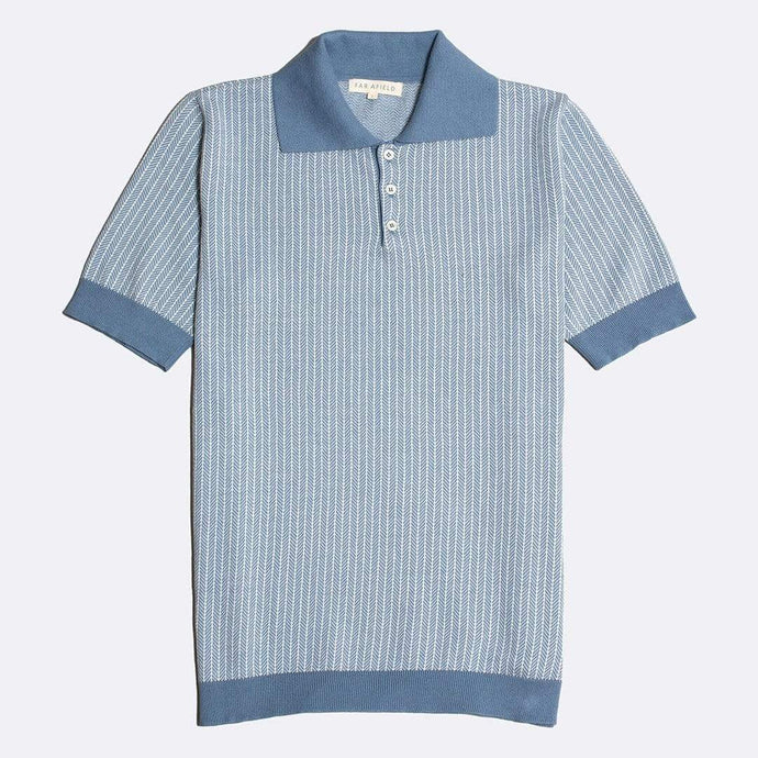 Far Afield Shirts Far Afield Blakey Short Sleeve Polo Blue