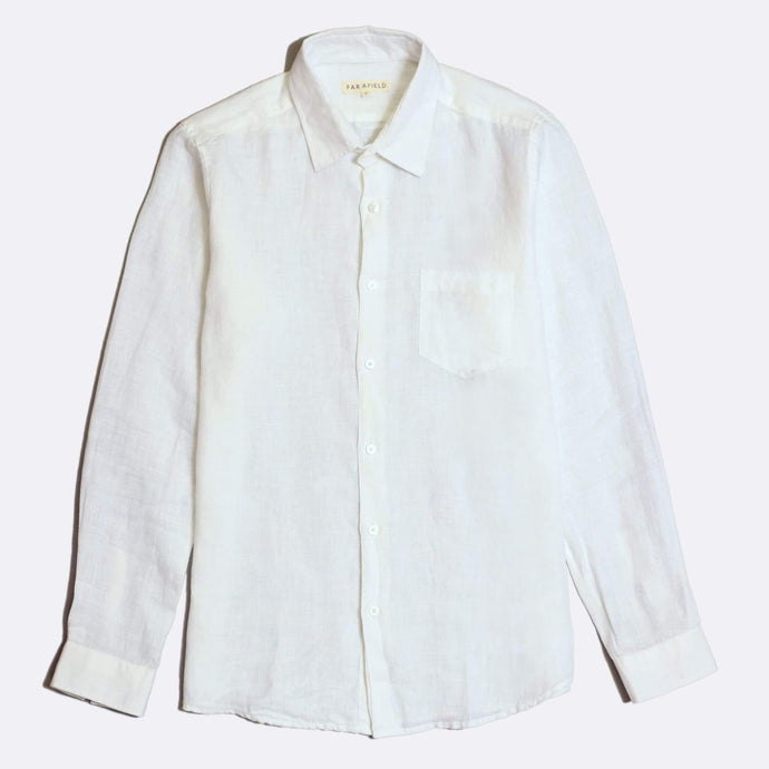 Far Afield Shirts Far Afield Classic L/S Linen Shirt White