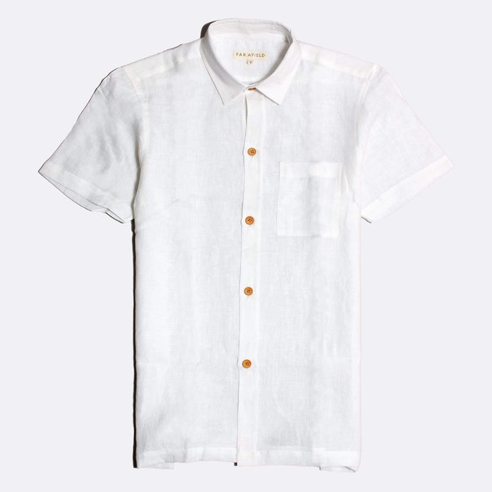 Far Afield Shirts Far Afield Costa S/S Linen Shirt White