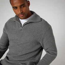 Load image into Gallery viewer, Remus Uomo Knitwear Remus Uomo Half Zip Sweater Grey