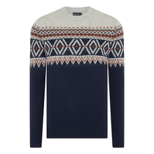 Load image into Gallery viewer, Remus Uomo Knitwear Remus Uomo Tapered Fit Fair-Isle Sweater Grey