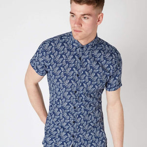 Remus Uomo Shirts Remus Uomo Tapered Fit Print Shirt Navy