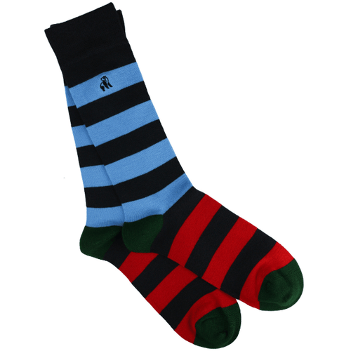 Swole Panda Socks Swole Panda Blue, Red & Green Striped Bamboo Socks