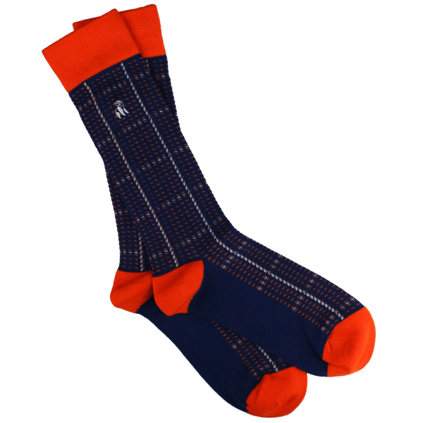 Swole Panda Socks Swole Panda Orange & Navy Check Socks