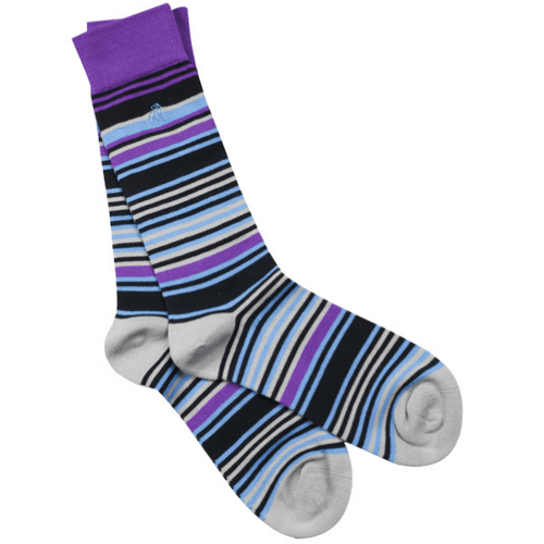 Swole Panda Socks Swole Panda Purple & Blue Narrow Stripe Bamboo Socks