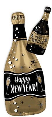 New Year Gold & Black Bottle Balloon