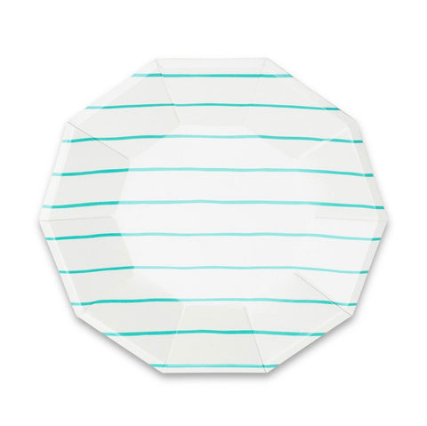 Frenchie Striped Large Plate Aqua