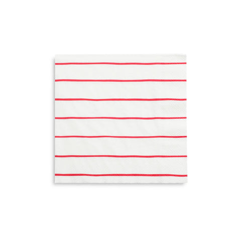 Frenchie Striped Large Napkins - Candy Apple