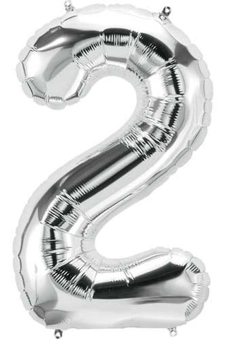 Silver 16 inch Number 2 Balloon
