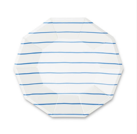 Frenchie Striped Large Plate Cobalt