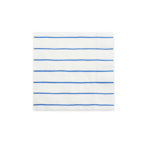 Frenchie Striped Large Napkins - Cobalt