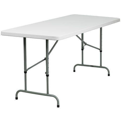 Adjustable Height White Folding Table Rental