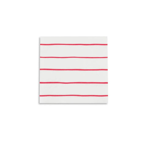 Frenchie Striped Cocktail Napkins - Candy Apple Red