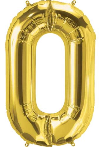 Gold 16 inch Number 0 Balloon