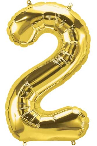 Gold 16 inch Number 2 Balloon