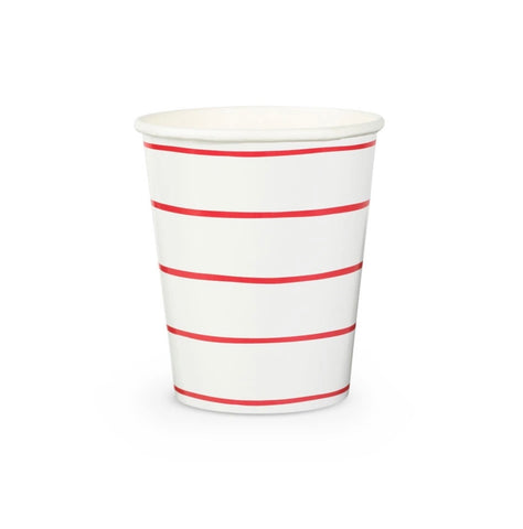 Frenchie Striped Cups - Candy Apple Red