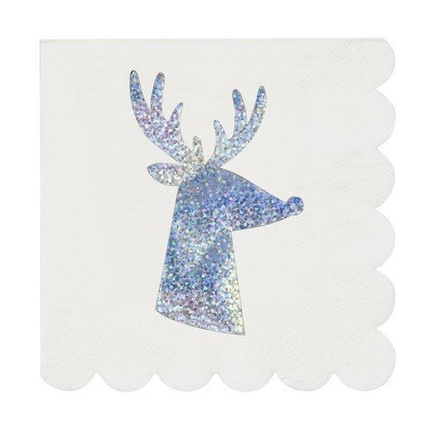 Silver Sparkle Reindeer Small Napkins