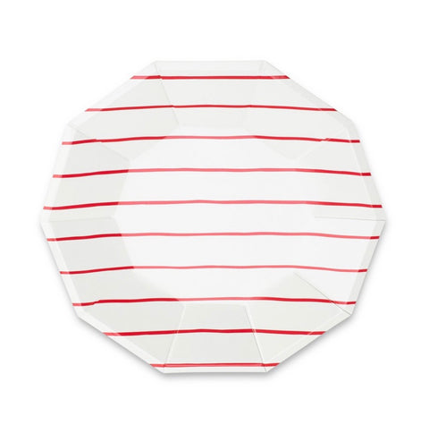 Frenchie Striped Large Plates - Candy Apple Red