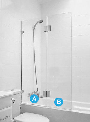 Frameless Bath Shower Screen (Fixed + Swing)- Custom Measured & Installed