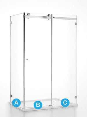 Frameless Corner Slider (Front + Return) Shower Screen - Custom Measured