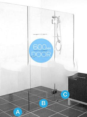 Frameless Glass Straight 3 Panel Shower Screen