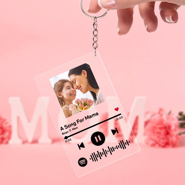 Mother's Day Gift Spotify Glass - Custom Spotify Code Music Plaque Keychain(2.1in x 3.4in)