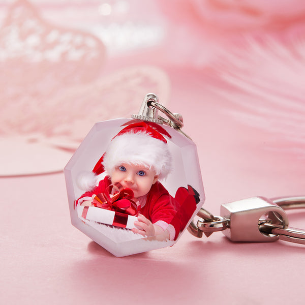 Custom Crystal Photo Keyring - Heptagon For Baby