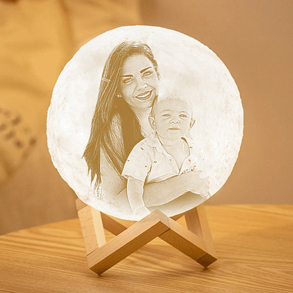 Custom 3D Printing Photo Moon Lamp With Text -Gift-For Mum- Touch Two Colors(10cm-20cm)