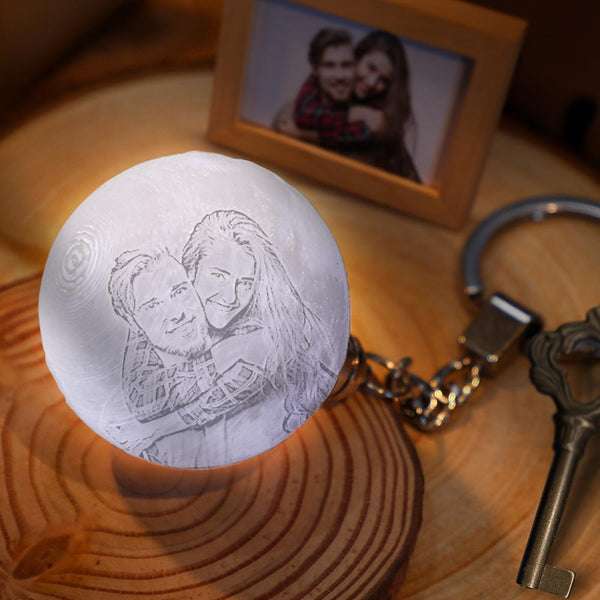 Custom Photo Keychain 3D Printed Moon Lamp