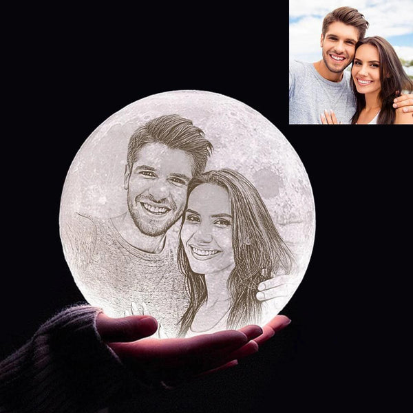 Custom 3D Printing Photo Moon Lamp With Your Text - For Valentine - Tap 3 Colors(10cm-20cm)