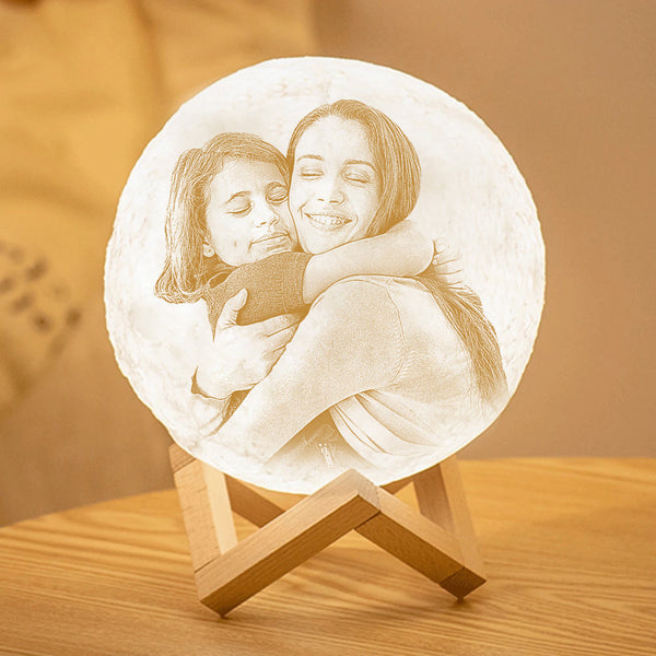 Custom 3D Printing Photo Moon Lamp With Your Text - For MUM - Touch Two Colors (10cm-20cm)
