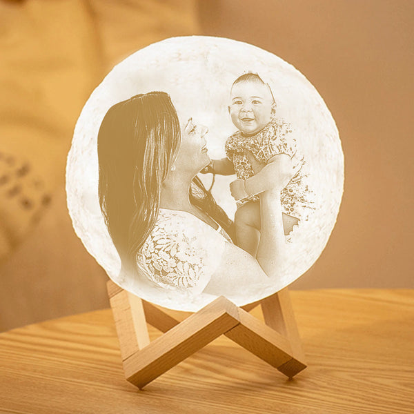 Mother's Day Gift Custom 3D Printing Photo Earth Lamp With Your Text - For Family - Touch Two Colors(10cm-20cm)