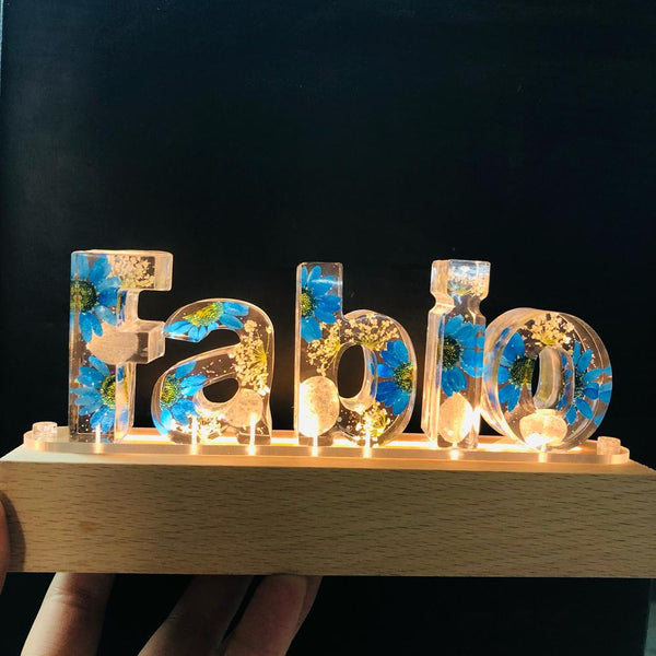 Personalised Dried Blue Flowers Night Light Lamp Decor Mothers' Day Gift