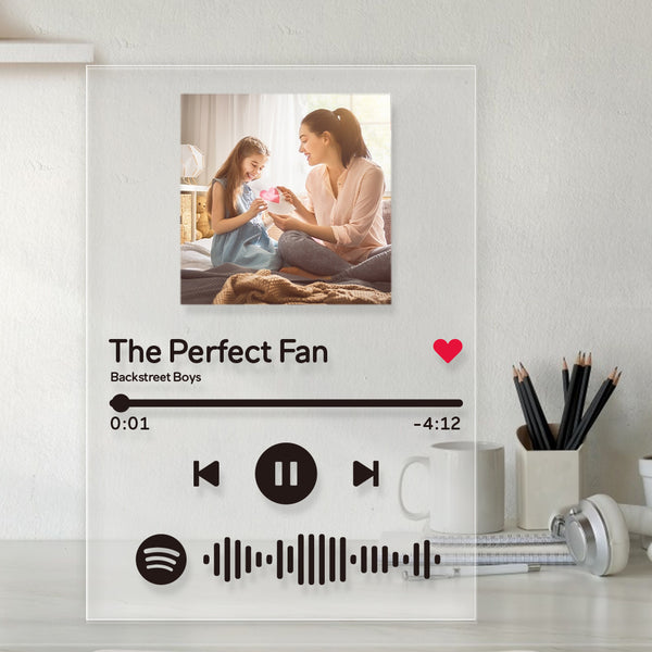 Mother's Day Gift Spotify Glass - Personalized Spotify Code Music Plaque(4.7in x 6.3in)