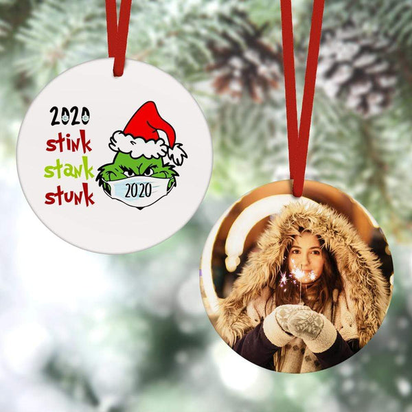 Custom Christmas Ornament Christmas Gifts 2 Sided - Santa Hat Grinch 2020 Stink Stank Stunk(8cm x 8cm)
