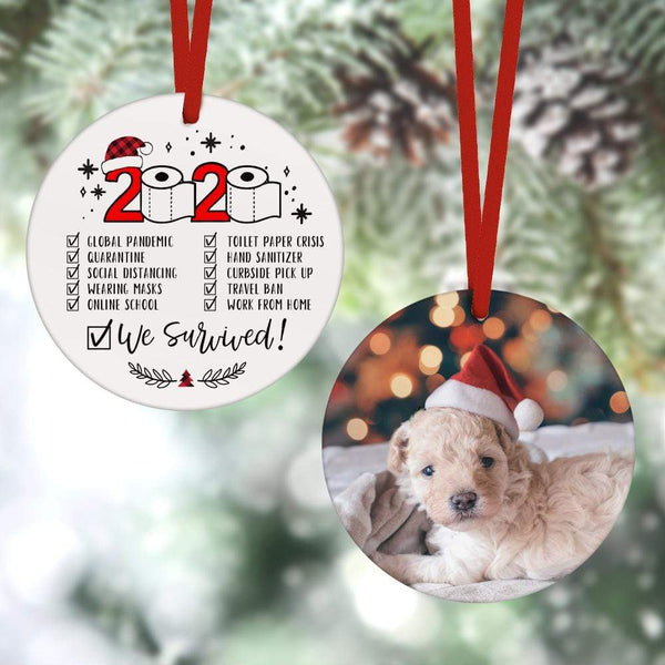 Custom Christmas Ornament Christmas Gifts 2 Sided - 2020 We Survived Plaid(8cm x 8cm)