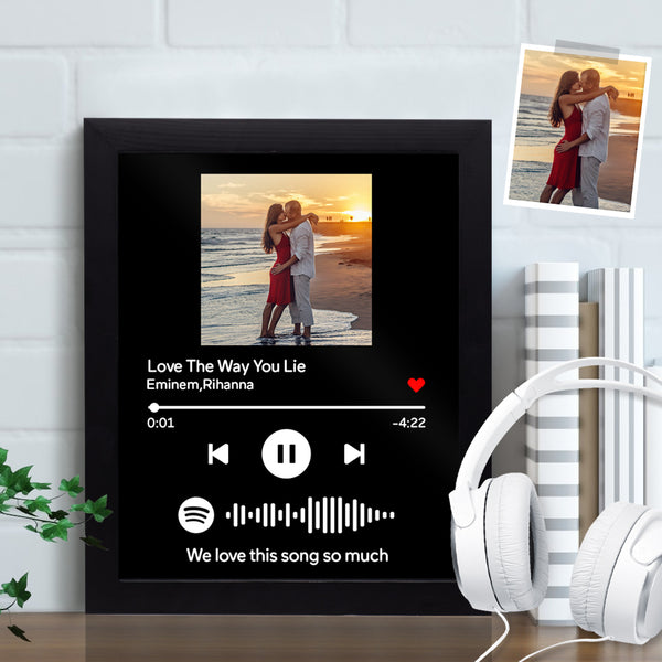 "Custom Spotify Picture Frame- Custom Spotify Code Music Frame (7""&10"") Gift for Boyfriend Gift for Girlfriend"
