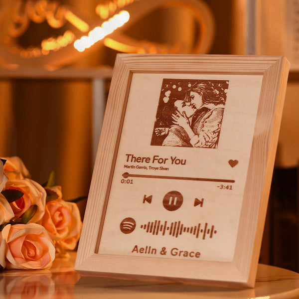 "Spotify Frame 8"" - Custom Spotify Code Music Frame Engraved Wooden Frame Gift for lovers"