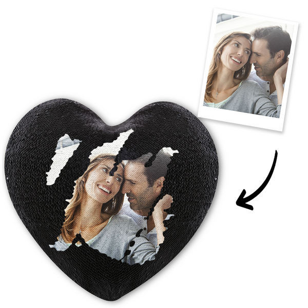 Custom Photo Magic Heart Sequins Pillow - Black