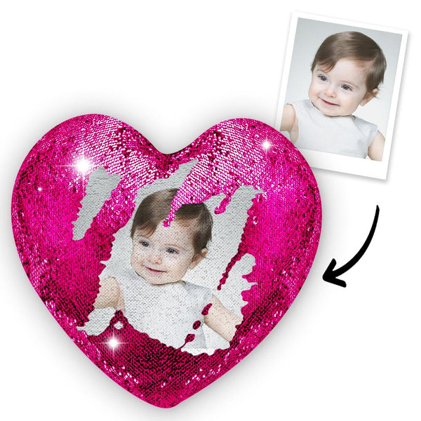 Custom Photo Magic Heart Sequins Pillow - Pink