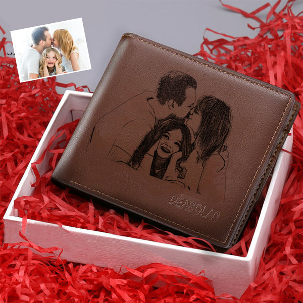 Christmas Gifts - Custom Brown Trifold Leather Photo Wallet