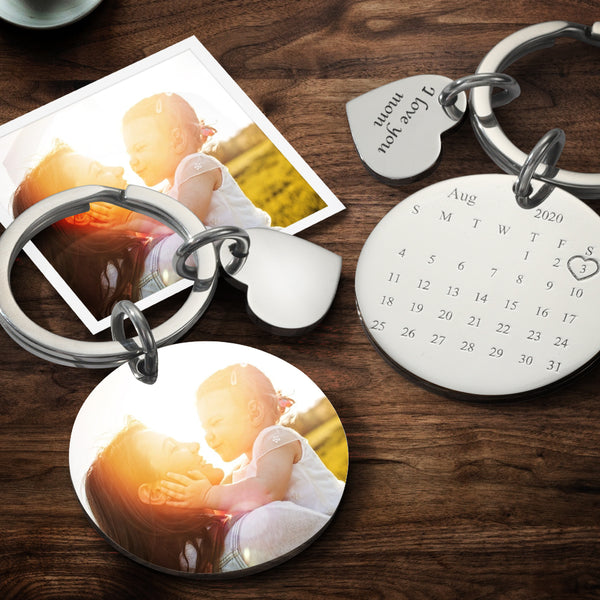 Mother's Day Gift Custom Photo Engraved Calendar Keyring -For Anniversary