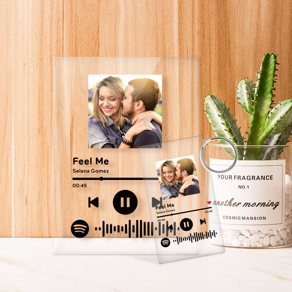Spotify Glass - Personalized Spotify Code Music Plaque(4.7in x 6.3in)With A Free Same Keychain(2.1in x 3.4in)