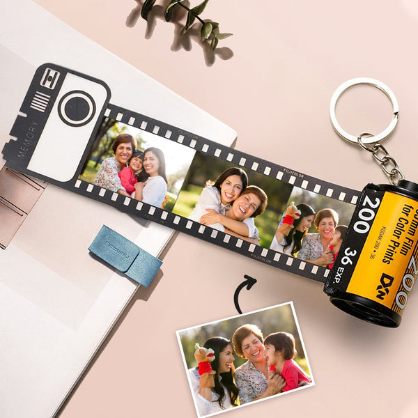 Mother's Day Gift Custom Colorful Camera Roll Keyring - Family