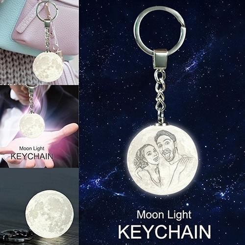Custom Photo Keychain 3D Printed Moon Lamp For Couple